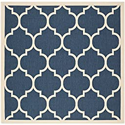 Safavieh Courtyard Collection CY6914-268 Navy and Beige Indoor/ Outdoor Square Area Rug, 5 feet 3 inches Square (5\'3\