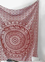 SheetKart Elephant Mandala Traditional Small Wall Hanging Tapestry - Red And White