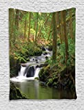 Ambesonne Lake House Decor Collection, Stream Flowing in the Forest over Mossy Rocks Tree Foliage Splash Summertime Hiking View, Bedroom Living Room Dorm Wall Hanging Tapestry, Olive