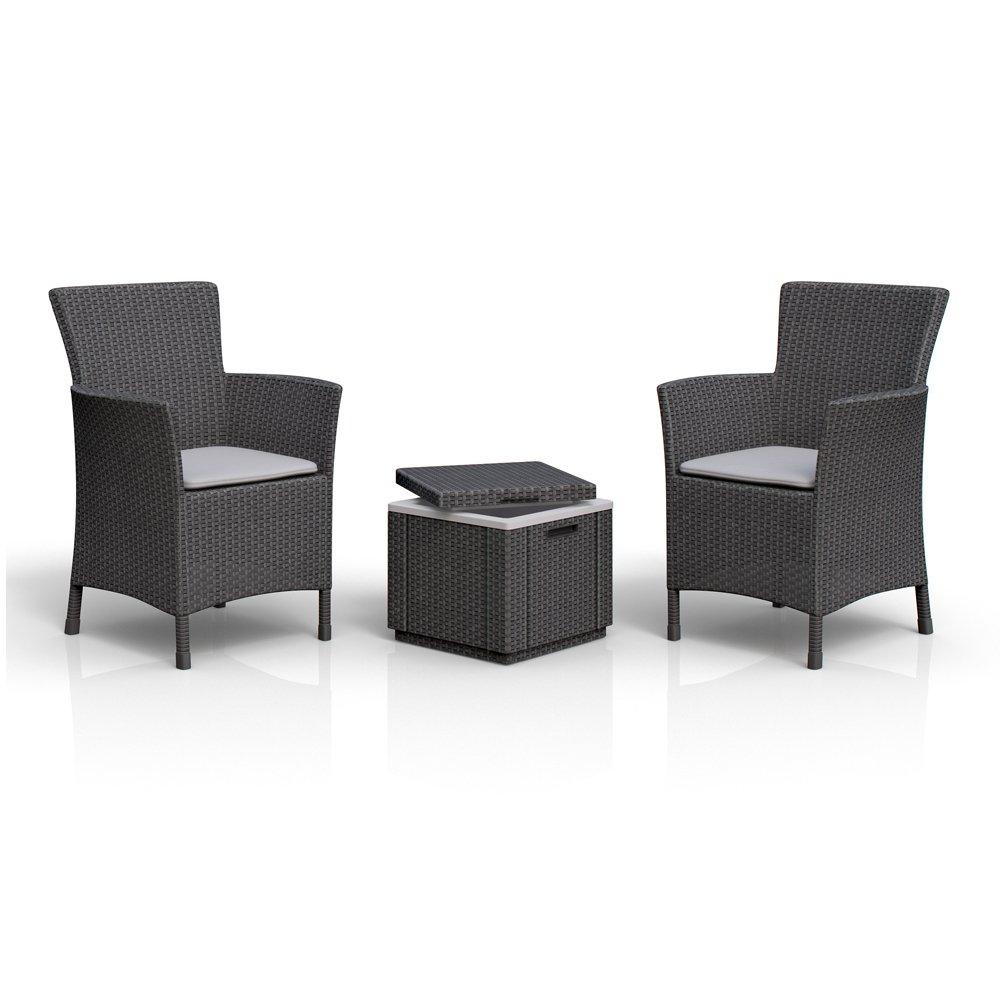 2 x Allibert Iowa Dining Chair Sessel Sitzgruppe + Kühlbox Ice Cube inkl. Kühlakku Rattanoptik jetzt kaufen