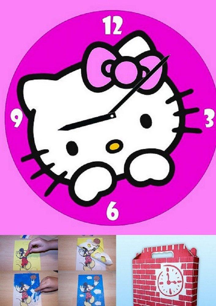 Kinder Wanduhr Hello Kitty zum selber machen mit buntem Glitzersand jetzt kaufen