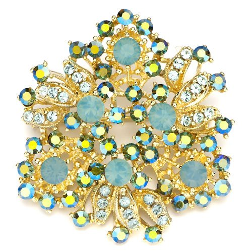 Christmas Gifts Pugster Green Opal Detail Crystal Golden Brooches And Pins