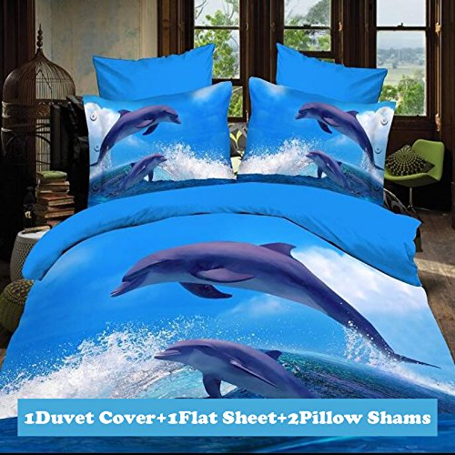 Lt Twin Full Queen Size 4-pieces 3d Jumping Dolphins Blue White Ocean Sea Cloud Sky Prints Duvet Cover Sets/bedding Sets / Bed Linens (Twin, 1 Duvet Cover+1 flat sheet +2 Pillowcases)