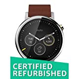 Motorola 2nd Generation Moto 360 46mm Smartwatch with Leather Wrist Band - Certified Refurbished (Silver & Cognac) (Color: Silver)