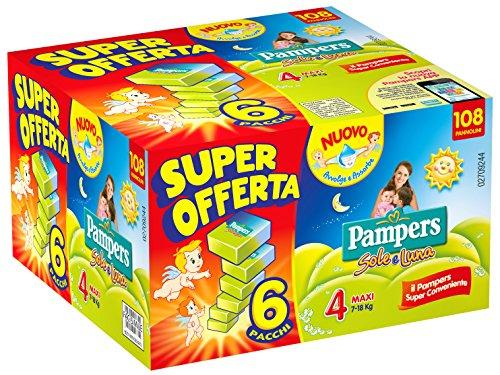 Pampers Sole e Luna, 108 Pannolini - Maxi, Taglia 4 (7-18 kg), 6 confezioni da 18