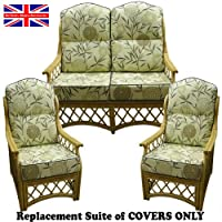 Hump Top Suite Cushion COVERS ONLY Cane Conservatory Wicker Furniture by Gilda® (Bamboo Natural with Grey piping) by Gilda Ltd