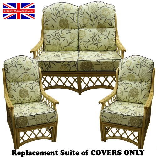 Hump Top New Suite Cushion COVERS ONLY Cane Conservatory Wicker Furniture by Gilda® (Bamboo Natural with Grey piping)