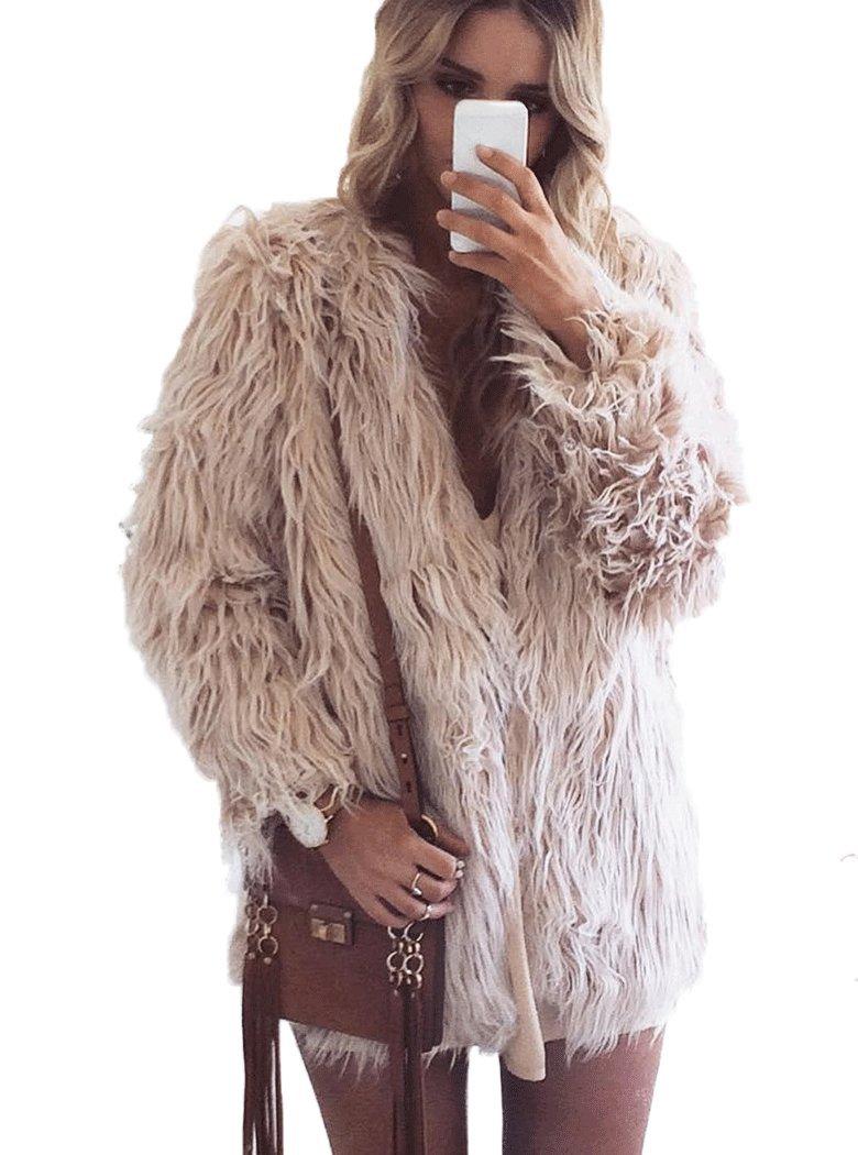 Naggoo Women's Fluffy Faux Fur Coat Winter Long Sleeve Warm Outerwear 0