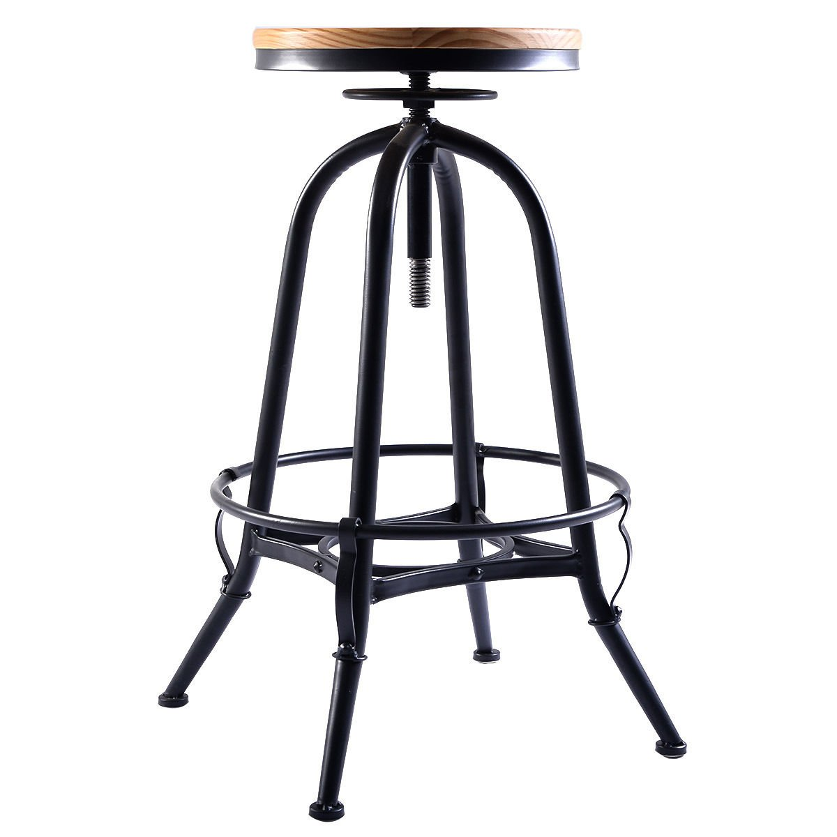 Costway Vintage Bar Stool Metal Frame Wood Top Adjustable