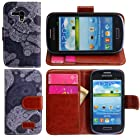 Harryshell Wallet Leather Carrying Case Cover With Credit ID Card Slots/ Money Pockets for Samsung Galaxy Mini S3 S3mini(not S3) I8190 (color 2)