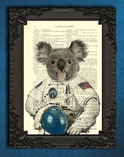 Koala Art Animal Astronaut Suit in Space Poster Artwork, Wall Decor Dictionary Print, Cool Koala Bear Gifts, Rocket Travel on Original Book Page (Cool Artwork compare prices)
