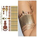 Tattify Gold And Ruby Armband and Bindi Temporary Tattoo - Indian Princess Sheet 1 (Set of 1 sheet) - Other Styles Available and Fashionable Temporary Tattoos (Color: Indian Princess Sheet 1)