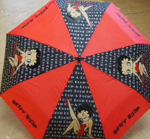 BETTY BOOP FOLD UMBRELLA BLACK RED KISS