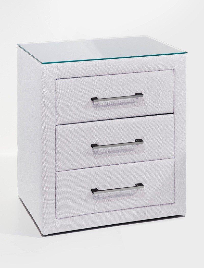 Nachttisch Paulo 2 Kunstleder weiß 57×61 cm mit Glasplatte Nachtkonsole Nako Nachtschrank günstig bestellen