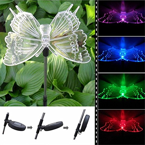 Solar Lawn Lights With Color Changing Led Ligthts Butterfly Figurine For Garden Yard Lawn Flower Beds Stake Decorations