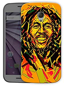 """Bob Marley Abstract Printed Designer Mobile Back Cover For """"Motorola Moto G2"""" By Humor Gang (3D, Matte Finish, Premium Quality, Protective Snap On Slim Hard Phone Case, Multi Color)"""