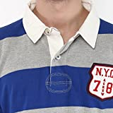 American-Crew-Mens-Polo-Stripes-T-Shirt-Blue-and-Grey