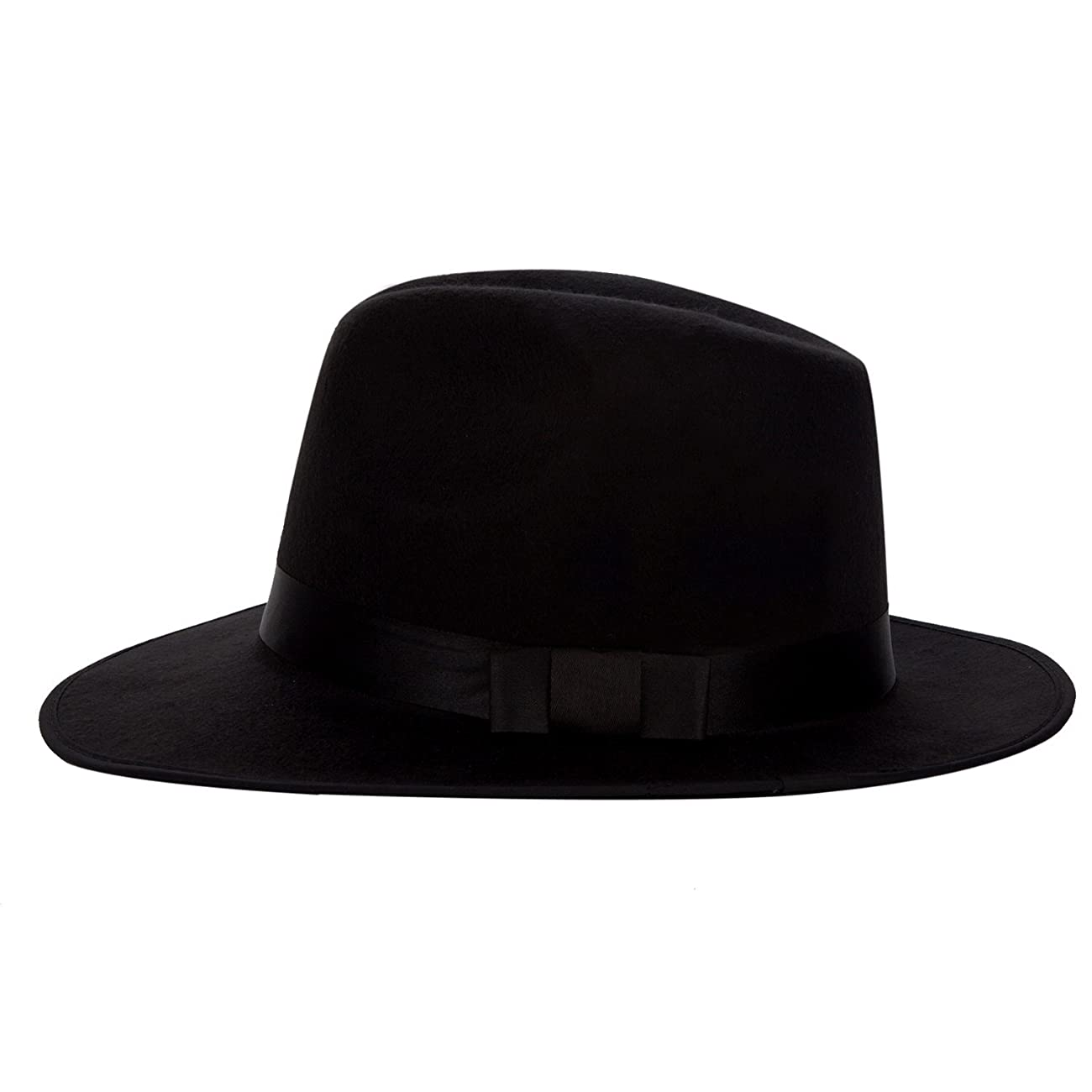 Aerusi Men's Vintage Wide Brim Hard Felt Fedora Panama Hat with Bowknot Black Ribbon 1