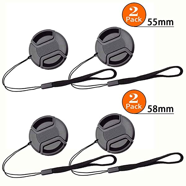 58mm+55mm Snap-on Lens Cap Cover with Leash for AF-P 18-55mm f/3.5-5.6G & AF-P 70-300mm f/4.5-6.3G Lens for Nikon D7200 D5600 D5500 D5300 D3500 D3400 D3300 DSLR Camera,Center Pinch Lens Cover & Keeper (Color: AF-P 18-55mm f/3.5-5.6G & AF-P 70-300mm f/4.5-6.3G)