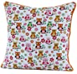 Homescapes - 100% Cotton - Owl - Filled Cushion - 45 x 45 cm Square - 18 x 18 Inches - Orange Red White - 100% Cotton - Cover Well Filled Pad - Washable