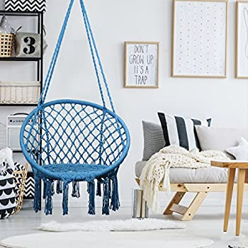 Hammock Chair Macrame Swing, 330 Pound Capacity, Hanging Chair with Cotton Rope for Indoor, Outdoor, Home, Patio, Deck, Yard, Garden, Blue