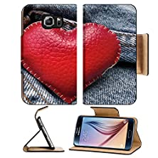 buy Msd Samsung Galaxy S6 Flip Pu Leather Wallet Case Red Heart On Vintage Jeans Image 25704428