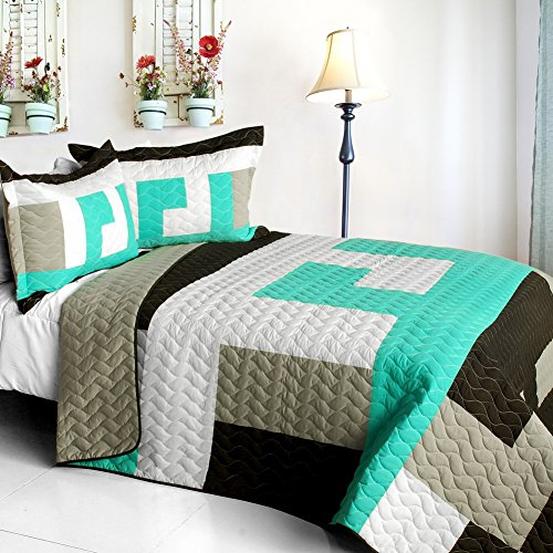 [Tetris - B] Vermicelli-Quilted Patchwork Geometric Quilt Set Full/Queen front-933035