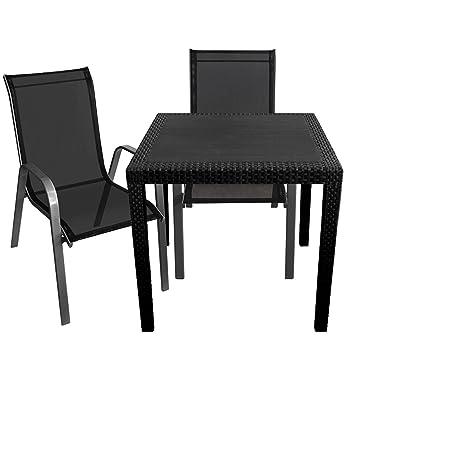3er Set Gartenmöbel Gartentisch im Rattan-Look 79x79cm + 2x Stapelstuhl Stahlgestell pulverbeschichtet mit Textilenbespannung Silbergrau/Schwarz