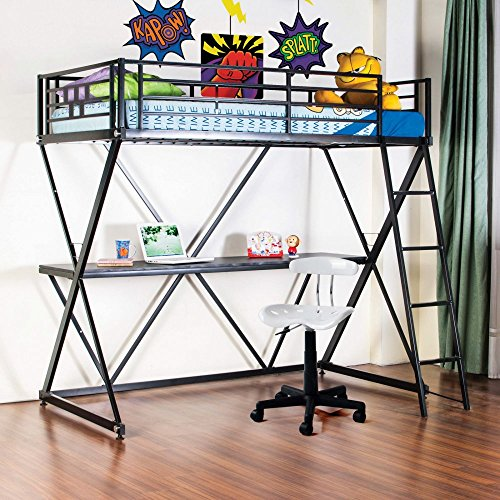 4D Concepts 4D Concepts Zinnia Twin Loft Bed With Desk -, Black, Metal, Twin front-487768