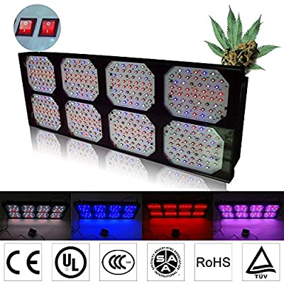 Eonstar® 1200w Full Spectrum LED Grow Light Matrix SC1200 Aluminum with 8 Bands, 400pcsx3w Led Chips, Black Silver