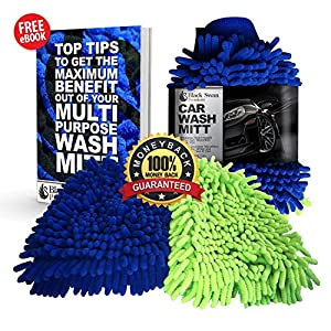Black Swan Premium Microfiber Wash Mitt Scratch-free Super Absorbent Wash Mitt Use As Duster or Car Wash Mitt Professional Quality Perfect for Washing Dusting Cleaning Your Car Home or Boat - [2 Pack]