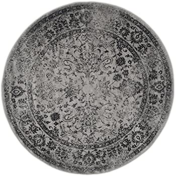Safavieh Adirondack Collection ADR109B Grey and Black Oriental Vintage Distressed Round Area Rug (6 Diameter)