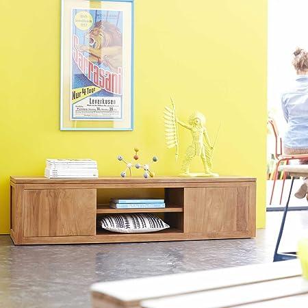 Módulo TV mueble mesa madera maciza teca clara 140cm nuevo