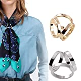 2 PCS Silver and Gold Luxury Stylish Scarf Ring Buckle Modern Simple Triple Side Silk Scarves Neckerchief Kerchief Knotting Clasp Ring Wrap Holder for Lady Women Girls (Color: Gold and Silver, Tamaño: free)
