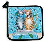 Kay Dee Designs Cotton Potholder, 8-Inch by 8-Inch, Meow