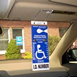 VisorTag® Vertical Mount VTD110 by JL Safety- The Best Way to Protect, Display & Swing Away a Handicap Parking Placard. Best Handicapped Placard Cover and Protector on the Market. Don't Settle for a Cheap Handicap Cover that you purchase over and over, get a VisorTag® for life. 100% Satisfaction Guaranteed. Patented & Proudly Made in USA.