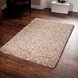 "Shaggy Rug Beige 963 Plain 5cm Thick Soft Pile 60cm x 110cm (2ft x 3ft 7"") Modern 100% Berclon Twist Fibre Non-Shed Polyproylene Heat Set - AVAILABLE IN 6 SIZES by Quality Linen and Towels"