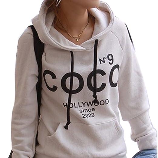 Icibgoods Women's Print Letter Hoodie Sweatshirt Pullover Hoodie White