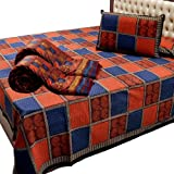 Little India Traditional Sanganeri Hand Block Print Cotton 5 Piece Double Bedding Set - Multicolor  (DLI3HFH201)