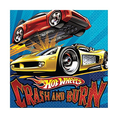 Amscan Mens Hot Wheels Speed City Lunch Napkins Black Medium