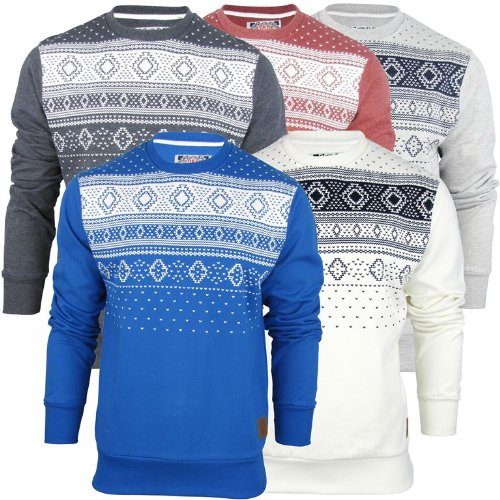 Mens Tokyo Tigers By Crosshatch Aztec/ Nordic Crew Neck Jumper/ Sweatshirt 'Marsta' - Azure [Small]