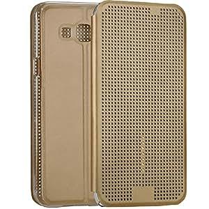 Fashion S View Design Samsung Galaxy A5 Case Slim Fit Dot Matrix Window Leather Flip Folio Cover Case for Samsung Galaxy A5 - Gold