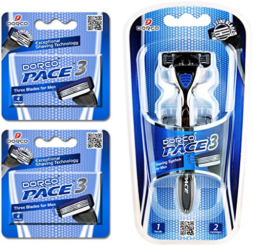 dorco-pace-3-three-razor-blade-shaving-system-value-pack-10-cartridges-1-handle