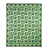 Patch Magic Queen Green Log Cabin Duvet Cover, 88-Inch by 98-Inch