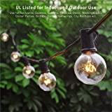 Binval G40 UL Listed Commercial Globe String Lights with 100 Sockets and 110 Bulbs 100Ft Outdoor String Lights for Backyard Wedding Birthday Party Barbeque DIY Patio Furniture Clearance Kitchen Decor (Tamaño: 100 ft)