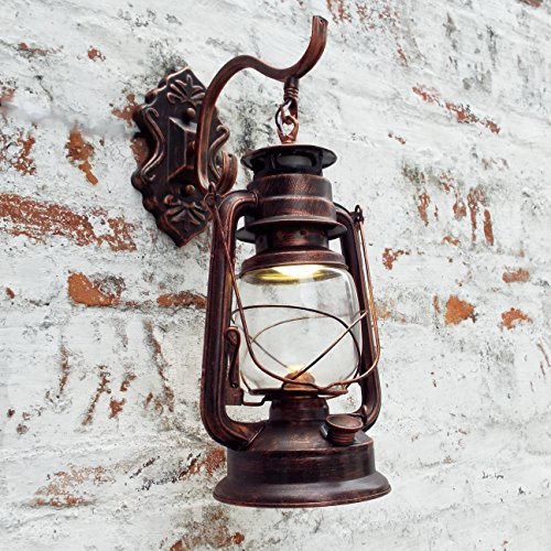 Injuicy Lighting Vintage Edison Barn Lantern Iron Kerosene Lamp Oil Light Wall Aisle Red Copper Color Industrial