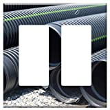 Switch Plate Double Rocker/GFCI - Drainage Pipes Construction Site Pipes Drainage