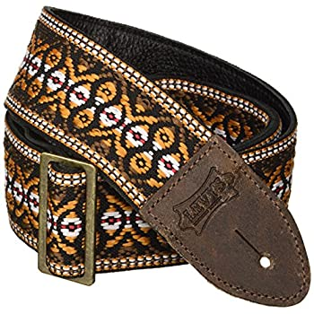 "Levy's Leathers Guitar Strap, M8HTV-20, 2"" jacquard weave guitar strap with vintage Hootenanny design"