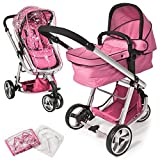 TecTake 3 en 1 Sillas de paseo coches carritos para bebes convertible rosa, Protecci