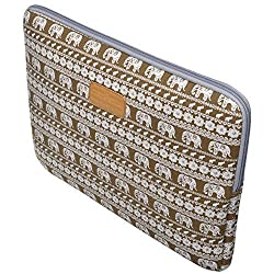 Case Star Bohemian Style Canvas Fabric 11-11.6 Inch Laptop Notebook Ultrabook Sleeve (Brown Elephant)